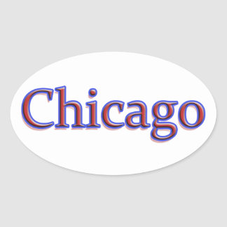 Chicago in Red and Blue - On White Oval Sticker