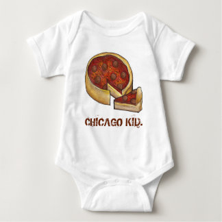 CHICAGO KID Illinois Deep Dish Pepperoni Pizza Baby Bodysuit