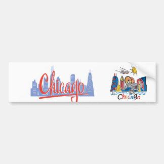Chicago Kids Cute Skyline Bumper Sticker