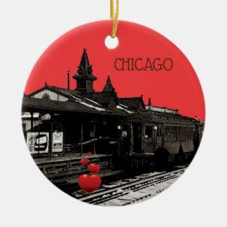 Chicago L 1950 Watercolor Sepia Photograph Subway Ceramic Ornament