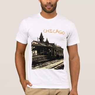 Chicago L 1950 Watercolor Sepia Photograph Subway T-Shirt