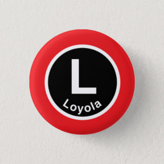 Chicago L Loyola Red Line 3 Cm Round Badge
