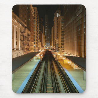 Chicago 'L' Station at Night Mouse Pad