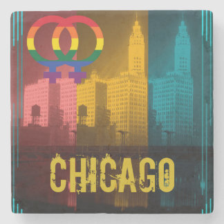 Chicago Lesbian Interest Colorful Pride Gay Stone Coaster