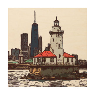 CHICAGO LIGHTHOUSE WOOD WALL DECOR