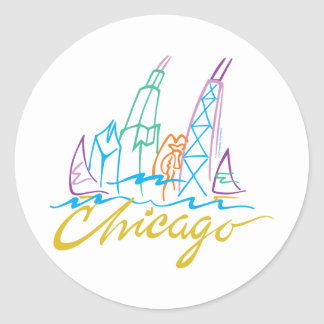 Chicago Line Syline Classic Round Sticker