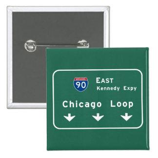 Chicago Loop I-90 E Interstate Illinois IL 15 Cm Square Badge