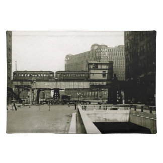 CHICAGO MERCHANDISE MART TROLLEY TRAIN WATERCOLOR PLACEMAT