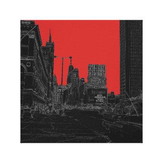 Chicago Michigan Avenue 1960's Glowing Edges Black Canvas Print