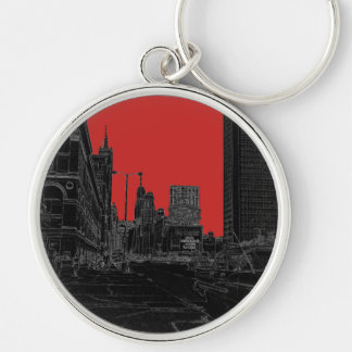 Chicago Michigan Avenue 1960's Glowing Edges Black Key Ring