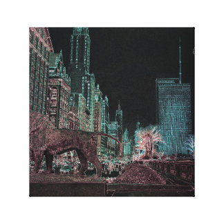 CHICAGO MICHIGAN AVENUE @ ART MUSEUM 1967 NEON CANVAS PRINT