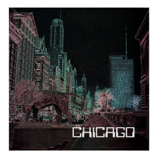 CHICAGO MICHIGAN AVENUE @ ART MUSEUM 1967 NEON POSTER