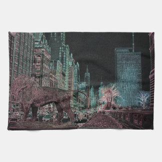 CHICAGO MICHIGAN AVENUE @ ART MUSEUM 1967 NEON TEA TOWEL