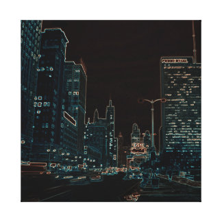 Chicago Michigan Avenue @ Night 1967 Neon Colorful Canvas Print