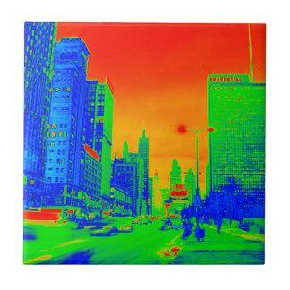 Chicago Michigan Avenue @ Night 1967 Neon Colorful Ceramic Tile