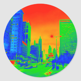 Chicago Michigan Avenue @ Night 1967 Neon Colorful Classic Round Sticker