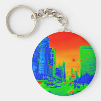Chicago Michigan Avenue @ Night 1967 Neon Colorful Key Ring