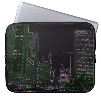 Chicago Michigan Avenue @ Night 1967 Neon Colorful Laptop Sleeve