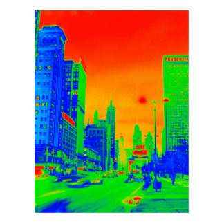 Chicago Michigan Avenue @ Night 1967 Neon Colorful Postcard
