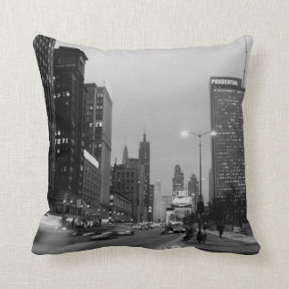 Chicago Michigan Avenue @ Night 1967 Windy City Throw Pillow