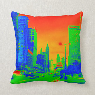 Chicago Michigan Avenue @ Night March 6, 1967 Neon Throw Pillow