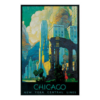 Chicago New York Central Lines Travel Poster