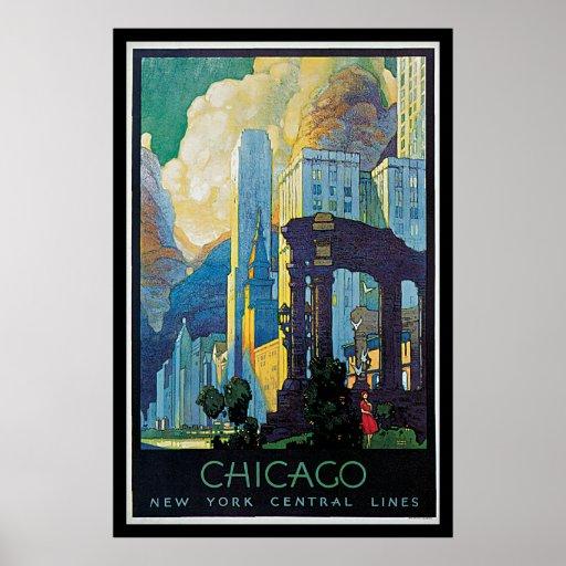 Chicago New York Line Vintage Travel Poster