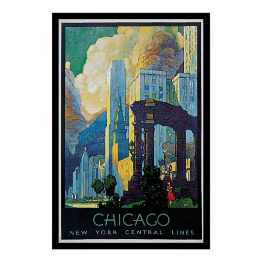 Chicago New York Line Vintage Travel Poster