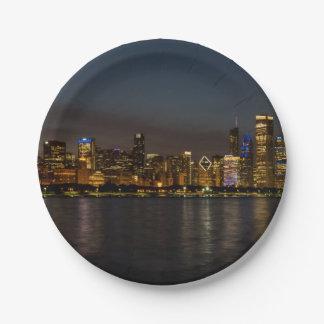 Chicago Night Cityscape 7 Inch Paper Plate