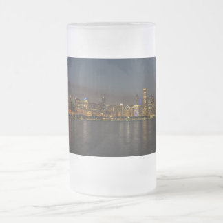 Chicago Night Cityscape Frosted Glass Beer Mug