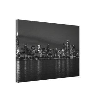 Chicago Night Cityscape Grayscale Canvas Print