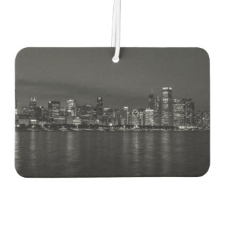 Chicago Night Cityscape Grayscale Car Air Freshener