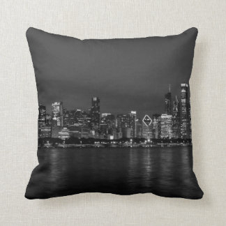 Chicago Night Cityscape Grayscale Cushion