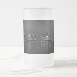 Chicago Night Cityscape Grayscale Frosted Glass Beer Mug
