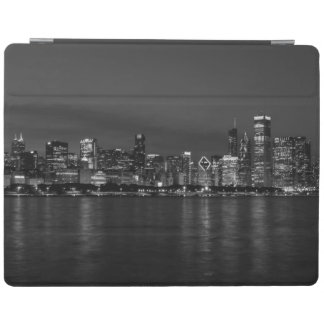 Chicago Night Cityscape Grayscale iPad Cover