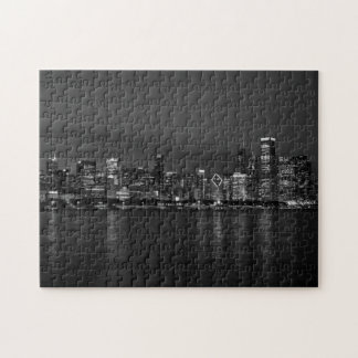 Chicago Night Cityscape Grayscale Jigsaw Puzzle