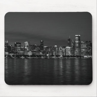Chicago Night Cityscape Grayscale Mouse Pad