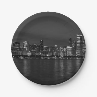 Chicago Night Cityscape Grayscale Paper Plate