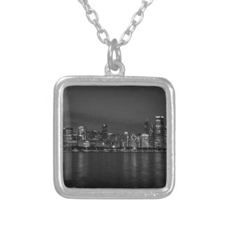 Chicago Night Cityscape Grayscale Silver Plated Necklace