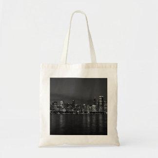 Chicago Night Cityscape Grayscale Tote Bag