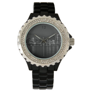 Chicago Night Cityscape Grayscale Wristwatch