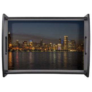 Chicago Night Cityscape Serving Tray