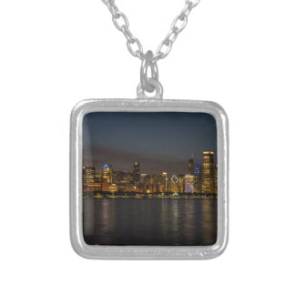 Chicago Night Cityscape Silver Plated Necklace