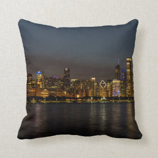Chicago Night Cityscape Throw Pillow