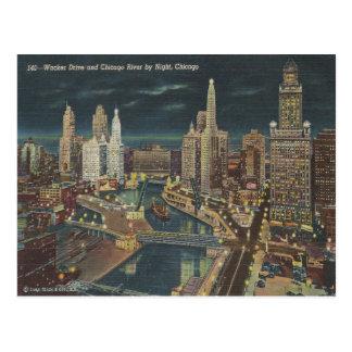 Chicago Night Skyline Postcard