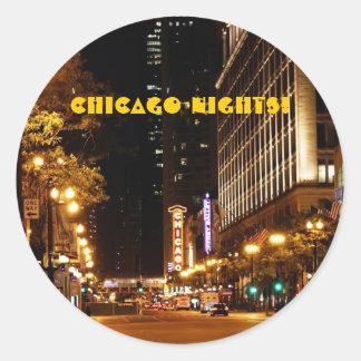chicago nightlife round sticker