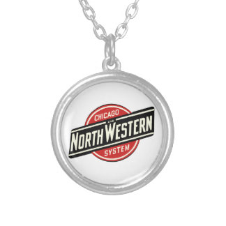 Chicago & Northwestern Railroad -slant Silver Plated Necklace