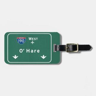 Chicago O'Hare Airport I-190 W Interstate Illinois Luggage Tag