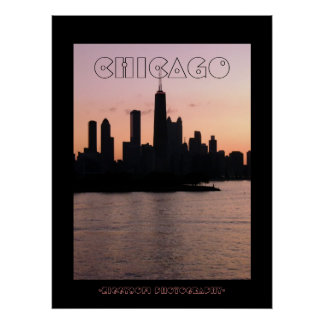 Chicago pink skyline poster print