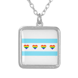 Chicago Pride Rainbow Hearts Flag Necklace